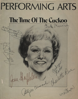 THE TIME OF THE CUCKOO PLAY CAST - SHOW BILL SIGNED CO-SIGNED BY: CHARLOTTE RAE, PATRICIA McCORMACK, JEAN STAPLETON, JACK MANNING, ERNEST THOMPSON, PATRIZIA PIERANGELI, PETER HIRST, ANDREW RESTO
