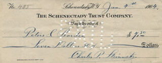 CHARLES P. STEINMETZ - AUTOGRAPH CHECK SIGNED 01/04/1904