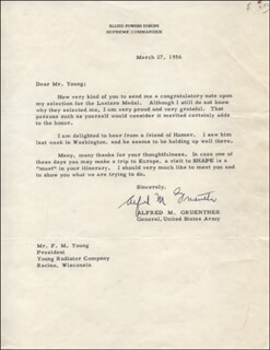 GENERAL ALFRED M. GRUENTHER - TYPED LETTER SIGNED 03/27/1956
