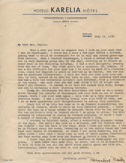 BERNADINE BAILEY - TYPED LETTER SIGNED 07/14/1938