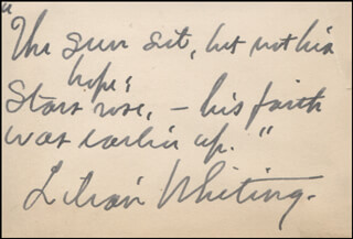 LILIAN WHITING - AUTOGRAPH QUOTATION SIGNED