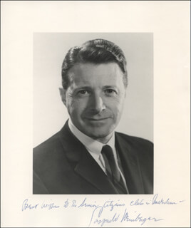 Autographs: CASPAR W. WEINBERGER - INSCRIBED PHOTOGRAPH SIGNED