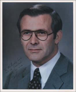DONALD RUMSFELD - AUTOGRAPHED INSCRIBED PHOTOGRAPH