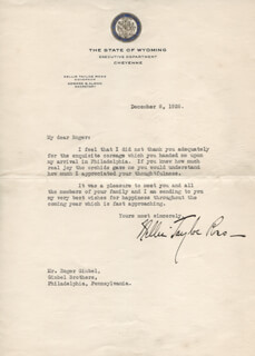 NELLIE TAYLOE ROSS - TYPED LETTER SIGNED 12/08/1926