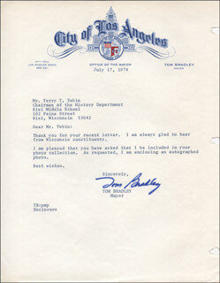 MAYOR TOM BRADLEY - TYPED LETTER SIGNED 07/17/1974