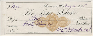 Autographs: MAJOR GENERAL CADWALLADER C. WASHBURN - AUTOGRAPH CHECK SIGNED 08/04/1875