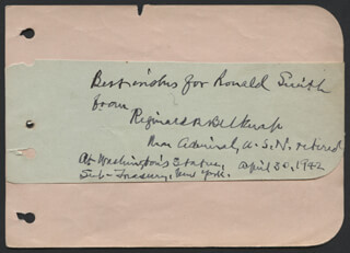 Autographs: REAR ADMIRAL REGINALD R. BELKNAP - AUTOGRAPH NOTE SIGNED 04/30/1942