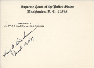 Autographs: ASSOCIATE JUSTICE HARRY A. BLACKMUN - SUPREME COURT CARD SIGNED 03/13/1979