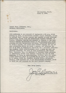 JOE E. BROWN - CONTRACT SIGNED 04/06/1936
