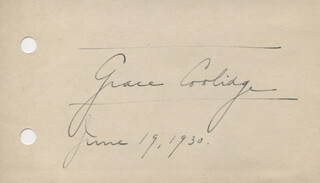 FIRST LADY GRACE COOLIDGE - AUTOGRAPH 07/19/1930