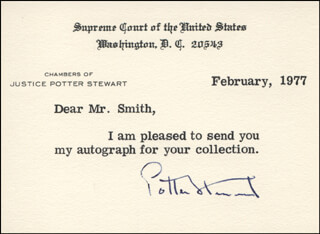 ASSOCIATE JUSTICE POTTER STEWART - AUTOGRAPH NOTE SIGNED
