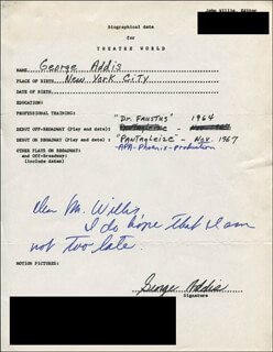 GEORGE ADDIS - AUTOGRAPH RESUME SIGNED
