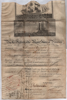 PRESIDENT JAMES MADISON - SHIPS PAPERS 12/18/1810 CO-SIGNED BY: ROBERT SMITH (POLITICIAN), MAJOR GENERAL HENRY DEARBORN