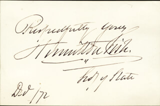 Autographs: HAMILTON FISH - AUTOGRAPH SENTIMENT SIGNED 12/06/1872