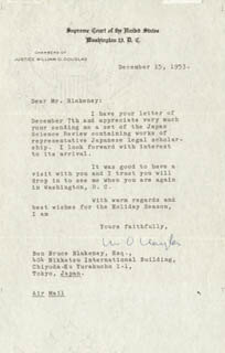 ASSOCIATE JUSTICE WILLIAM O. DOUGLAS - TYPED LETTER SIGNED