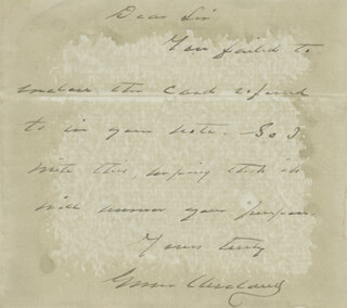 PRESIDENT GROVER CLEVELAND - AUTOGRAPH LETTER SIGNED