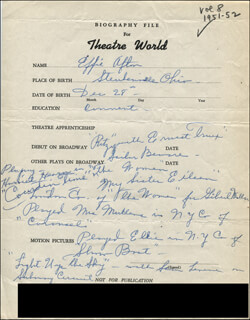 EFFIE AFTON - AUTOGRAPH DOCUMENT SIGNED IN TEXT