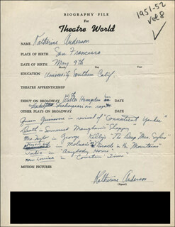 KATHERINE ANDERSON - AUTOGRAPH RESUME SIGNED
