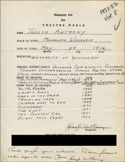 JOSEPH ANTHONY - AUTOGRAPH RESUME SIGNED