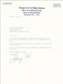 PRESIDENT GERALD R. FORD - TYPED LETTER SIGNED 11/30/1973