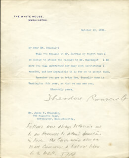 PRESIDENT THEODORE ROOSEVELT - TYPED LETTER SIGNED 10/18/1906 CO-SIGNED BY: JAMES B. CONNOLLY