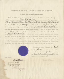 Autographs: PRESIDENT WOODROW WILSON - NAVAL APPOINTMENT SIGNED 06/02/1915 CO-SIGNED BY: JOSEPHUS DANIELS