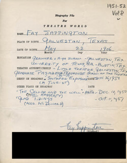 FAY SAPPINGTON - AUTOGRAPH RESUME SIGNED