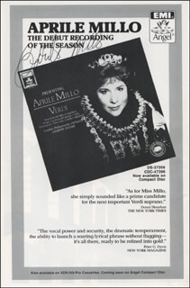 APRILE MILLO - ADVERTISEMENT SIGNED