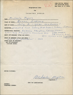 MICHAELE MYERS - AUTOGRAPH RESUME SIGNED