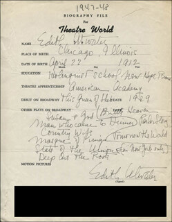 Autographs: EDITH ATWATER - AUTOGRAPH RESUME SIGNED