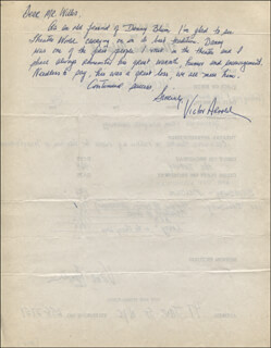 VICTOR ARNOLD - AUTOGRAPH LETTER SIGNED