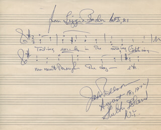 JACK BEESON - AUTOGRAPH MUSICAL QUOTATION SIGNED 08/18/1974