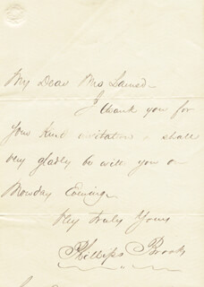 PHILLIPS BROOKS - AUTOGRAPH LETTER SIGNED