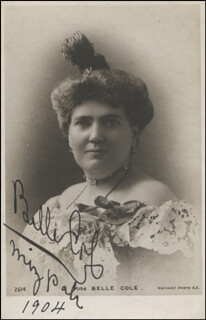 BELLE COLE - AUTOGRAPHED SIGNED PHOTOGRAPH 1904