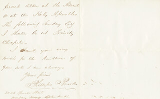 PHILLIPS BROOKS - AUTOGRAPH LETTER SIGNED 9/13