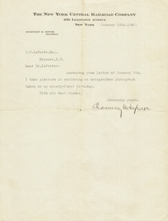 Autographs: CHAUNCEY M. DEPEW - TYPED LETTER SIGNED 01/13/1926