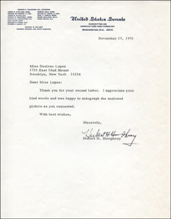 VICE PRESIDENT HUBERT H. HUMPHREY - TYPED LETTER SIGNED 11/17/1975