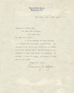 Autographs: CHAUNCEY M. DEPEW - TYPED LETTER SIGNED 09/19/1907