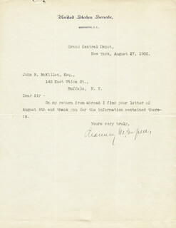 CHAUNCEY M. DEPEW - TYPED LETTER SIGNED 08/27/1902