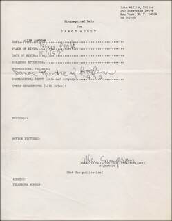 AL SAMPSON - AUTOGRAPH RESUME SIGNED