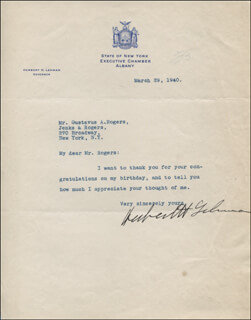 GOVERNOR HERBERT H. LEHMAN - TYPED LETTER SIGNED 03/29/1940