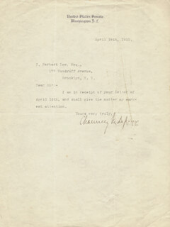 Autographs: CHAUNCEY M. DEPEW - TYPED LETTER SIGNED 04/19/1910
