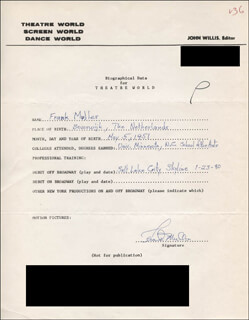 FRANK MULLER - AUTOGRAPH RESUME SIGNED