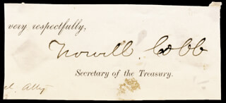 Autographs: MAJOR GENERAL HOWELL COBB - CLIPPED SIGNATURE