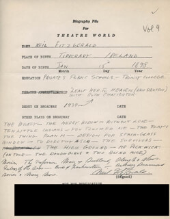 NEIL FITZGERALD - AUTOGRAPH RESUME SIGNED