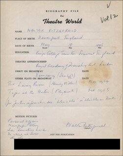 WALTER FITZGERALD - AUTOGRAPH RESUME SIGNED