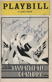 ON THE 20TH CENTURY PLAY CAST - INSCRIBED SHOW BILL SIGNED CO-SIGNED BY: JOHN CULLUM, JUDY KAYE