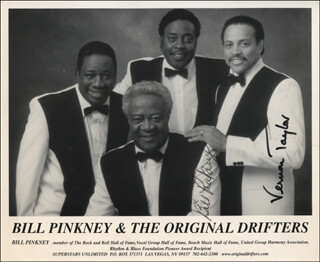 BILL PINKNEY & THE ORIGINAL DRIFTERS - PRINTED PHOTOGRAPH SIGNED IN INK CO-SIGNED BY: BILL PINKNEY & THE ORIGINAL DRIFTERS (BILL PINKNEY), BILL PINKNEY & THE ORIGINAL DRIFTERS (VERNON TAYLOR)
