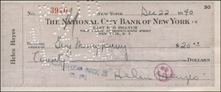 HELEN HAYES - AUTOGRAPHED SIGNED CHECK 12/22/1940 CO-SIGNED BY: GUY MONEYPENNY