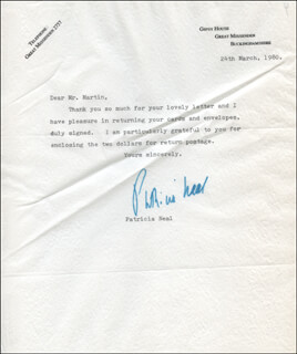 PATRICIA NEAL - TYPED LETTER SIGNED 03/24/1980